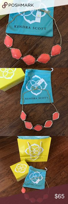 "NWT Kendra Scott Gold Coral Connely Necklace Brand new with tags Kendra Scott Necklace. Connely style. 14k gold with coral magnesite stones. 18"" length with 2"" extender. Lobster claw closure. Comes with box and dust bag. Kendra Scott Jewelry Necklaces"