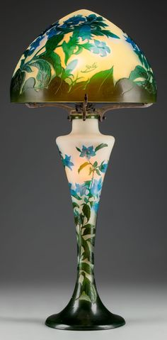 Art Glass:Galle, GALLE OVERLAY GLASS BELLFLOWER LAMP, Nancy, France, circa 1900.Marks: Gallé. 24-1/4 inches high (61.6 cm). THE COLLEC...(Total: 2 Items) Image #1