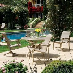 Ravello sling outdoor furniture collection by Tropitone. Available from Rich's for the Home http://www.richshome.com/