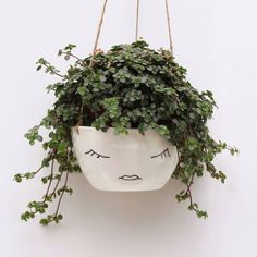 Ceramic Hanging Planter With Lady Face DIY inspiration #affiliate