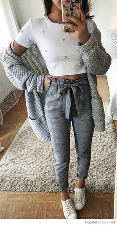 Grey and white casual sport outfit