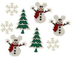 Jesse James Buttons ~  Dress It Up  DISNEY MICKEY SNOWMEN ~ Christmas Sew Crafts #JesseJames
