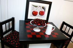 black and red stained checkerboard table - Google Search