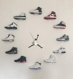 My jordan clock project finally complete Jordan Clock, All Jordans, Jordans Sneakers, Shoe Room, Shoe Closet, Jordan Swag, Sneaker Art, Kicks Shoes, Shoe Display