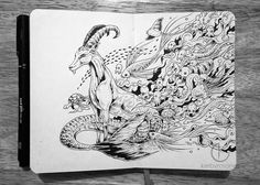 """MOLESKINE DOODLES: """"Capricorn"""" Been wanting to do a series of drawings featuring the 12 signs of zodiac during my free time. Hopefully to complete them before the year ends. Art And Illustration, Ink Illustrations, Doodle Art, Doodle Drawings, Notebook Art, Moleskine Notebook, Capricorn Art, Ink Doodles, Doodle Designs"""