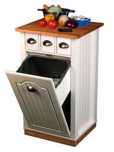Trash Can Pantry Cabinet that Holds 13 Gallon Bags - I *really* like this idea.