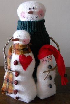 Love Doesn't Melt Snowman Family by Oldetymecountry on Etsy