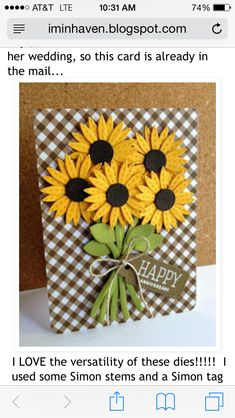 Amazing card by Lisa Adessa using brand New Simon Says Stamp from the STAMPtember release. - Love these sunflowers!Card by Lisa Addesa [Simon Says Stamp! Bundle of Stitched Shapes (Cold Hands Warm Heart), Scribble Flowers (Pure Sunshine), Stitched Da Handmade Birthday Cards, Happy Birthday Cards, Flower Birthday Cards, Handmade Anniversary Cards, Birthday Wishes, Creative Birthday Cards, 20 Birthday, Happy Birthdays, Sister Birthday