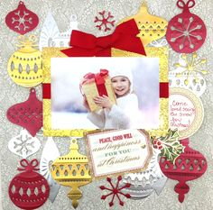 Create a memory using Anna Griffin's Ornament Di Cut Set and a cherished holiday photo!