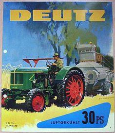 Alteres-Blechschild-Oldtimer-Traktor-Deutz-Schlepper-gebraucht-used
