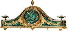 Malachite clock Mantel Clocks, Old Clocks, Antique Clocks, Antique Mantel, Antique Decor, Russian Architecture, Retro Clock, Coral, Elegant Home Decor