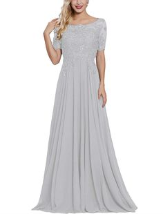 Lace Applique Beaded Mother of The Bride Dresses Long with Sleeves Bateau Neck Maxi Formal Evening Gown Loyeloy Evening Dresses With Sleeves, Lace Dress With Sleeves, Formal Evening Dresses, Short Bridesmaid Dresses, Colored Wedding Dresses, Mother Of The Bride Dresses Long, Mother Bride, Royal Blue Evening Dress, Short Lace Dress
