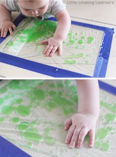 Sensory play ideas for babies   squishy, squashy discovery bag   activities for playing with your baby   3 month old   6 month old   learning at home   exploring touch, feel, taste, small and sound   exploring the 5 senses