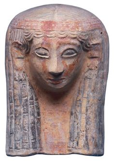 Phoenician  Female protome, painted terracotta,  6th Century BCE