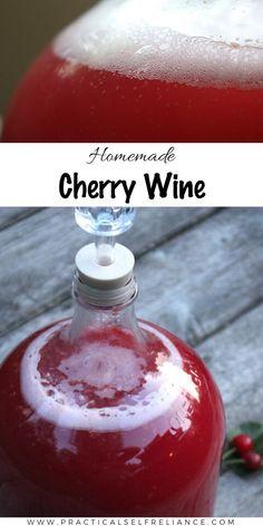 Strawberry Wine, Cherry Wine, Homemade Wine Recipes, Homemade Alcohol, Cherry Jam Recipes, Mead Recipe, Peach Wine, Wine Yeast, Honey Wine