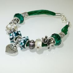 European Charm Bracelet Handmade Teal Green Friend lampwork murano glass bead leather ribbon with Rhinestone & Tibetan silver charms - pinned by pin4etsy.com