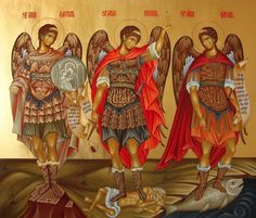 Greek Orthodox icon of Archangel Gabriel, Archangel Michael and Archangel Raphael Byzantine Icons, Byzantine Art, Religious Icons, Religious Art, Morgenstern, Saint Gabriel, I Believe In Angels, Angels Among Us, Art Icon