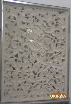 ukiran relief anggur Bahan : batu alam paras jogja putih, ukiran bali untuk villa, rumah, hotel, kantor, ruko
