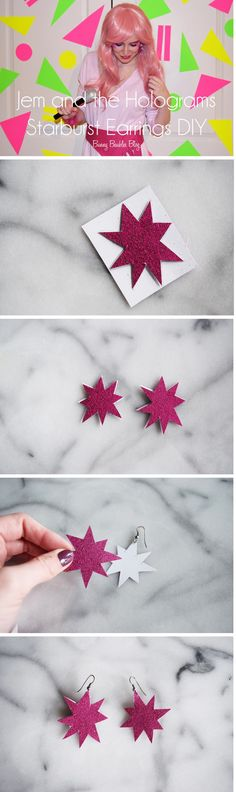 80s Jem and the Holograms Costume Starburst Earrings DIY by Bunny Baubles blog