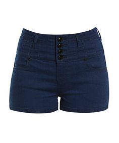 Blue High Waisted Supersoft Shorts