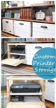 DIY Crafts Image Description DIY Tutorial for a Custom Printer Storage Crate from TheRefurbishedHom… Printer Desk, Printer Cabinet, Printer Storage, Home Office Storage, Home Office Decor, Home Organization, Diy Home Decor, Organizing, Crate Storage