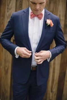 navy and pink wedding, groom, grooms attire, groom bowtie, pink boutonniere, rose boutonniere, peach boutonniere, navy suit, grooms suit, outdoor wedding, preppy wedding, woodlands algonkian,