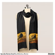 """Spooky Raven Scarf Quoth the raven: """"Nevermore."""" Add that literary finish to your outfit this fall! Perfect for handing out candy or that Halloween event at your local library!"""