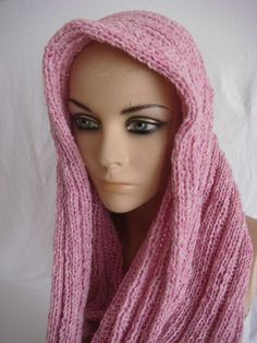 Hand Knitted Hooded Cowl/Scarf/Neck warmer (Baby Pink $29.90