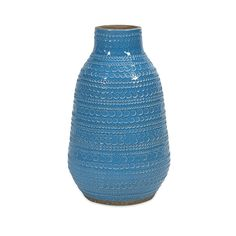 This teal blue terracotta Embree Vase features a glazed bright color and frivolous circle chain pattern.