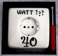 Tortentante - Der grosse Tortenblog mit Anleitungen, Rezepten und Tipps für Motivtorten: Elektrikter-Torte zum 40. Geburtstag
