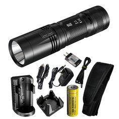 Nitecore R40 1000 Lumen Inductive Rechargeable LED Flashlight with Wall Mount and Desktop Charging Cradle, USB Charging Cable and LumenTac USB AC Adapter