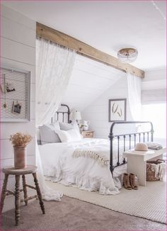 Are you looking for inspiration for farmhouse living room? Check out the post right here for unique farmhouse living room images. This specific farmhouse living room ideas looks completely amazing. Shabby Chic Bedrooms, Small Bedrooms, Vintage Bedrooms, Vintage White Bedroom, Luxury Bedrooms, White Bedrooms, Attic Bedrooms, Bed Room White, Vintage Hippie Bedroom