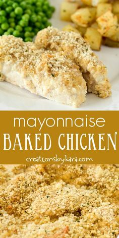 Baked Mayonnaise Chicken is melt in your mouth delicious! It is an easy chicken dish that is sure to become a family favorite! Baked Mayonnaise Chicken is melt in your mouth delicious! It is an easy chicken dish that is sure to become a family favorite! Breaded Chicken Recipes, Baked Chicken Legs, Baked Chicken With Mayo, Baked Chicken Tenders, Baked Chicken Breast, Easy Chicken Recipes, Mayo Chicken, Bread Crumb Chicken Baked, Chicken Mayo Parmesan