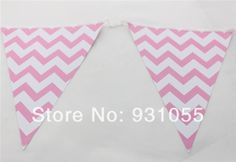 Free Shipping 20 PCS  Pink Chevron Party Paper Pennant Banner Party Bunting For Birthday Party Wedding Decoration $60.00