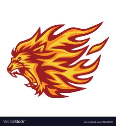 Lion head flaming fire logo vector image on VectorStock Beast Logo, Fire Lion, 2048x1152 Wallpapers, Lion Logo, Lion Head Logo, Fire Vector, Lion Illustration, Lion Drawing, Wolf Artwork