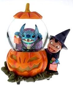Disney Lilo & Stich Jack O Lantern Snowglobe