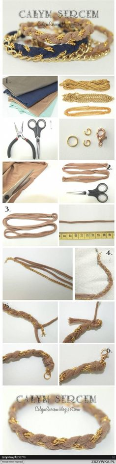 Bracelet DIY fashion-using ripped shirts braided over chains - Love this style!