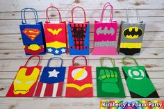 These Super Hero Party Bags are perfect for your party, all the pieces are handmade of foam and glued to a paper bag. The size bag is You can choose the characters and the amounts of each. * I can make any character* Thanks for your purchase Superhero Party Bags, Batman Party, Superhero Birthday Party, Girl Birthday, Super Hero Day, Birthday Party Treats, Foam Party, Avengers Birthday, Fathers Day Crafts