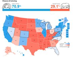 FiveThirtyEight released on Wednesday its first forecast for the general election, and the numbers don't look good for Trump. The website correctly predicted all 50 states in the 2012 election, but did not predict Trump's GOP nomination this year. Election Map, 2012 Election, Presidential Election, Electoral College Votes, Trump Wins, Financial Times, Big Data, Rebounding