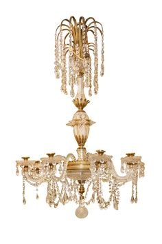 A George III style ormolu mounted cut glass 8-light bronze and crystal chandelier attributed to Perry.
