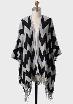 Full Moon Fringed Chevron Cardigan 59.99 at shopruche.com. Featuring a chic chevron pattern, this black and gray open cardigan features batwing sleeves and adorable braided fringe. This stylish oversized cardigan is perfect for pairing with jeans and boots on blustery days.100% Cotton, Imported,...