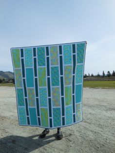 Rectangle Reverie Quilt, blue and green