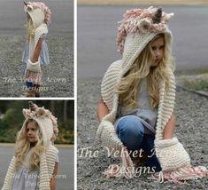 Hooded Scarf Pattern, Crochet Hooded Scarf, Hand Knit Scarf, Scarf Hat, Crochet Scarves, Crochet Hats, Crochet Unicorn Hat, Pink Hat, Crochet For Kids