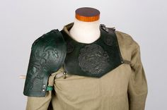 Green leather pauldron shoulder piece by BarbwireandRoses on Etsy