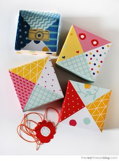patchwork paper origami gift boxes