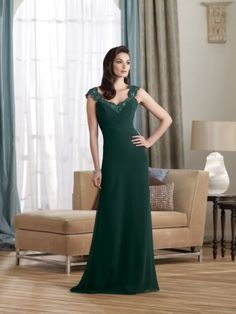 Sheath/Column Floor-length V-neck Chiffon Darkgreen Mother of the Bride Dress