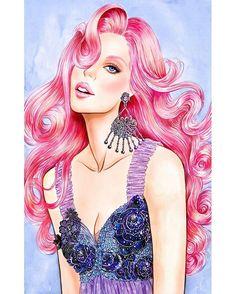 💖🦄Current mood: PINK🌸👙inspired by @officialrodarte 💕💋🦄 ______________________________________ #SunnyGu #rodarte #valentines #fashion #fashionart #fashionista #fashionportrait #portrait #girl #FashionIllustration #mua #illustration #painting #beauty #face #pink #beautyportrait #glamour #accessories #inspire #instaart #instalove #instamood #instadaily #pinkhairdontcare #pastel