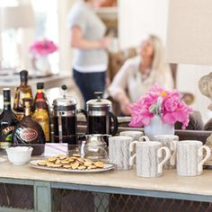 A coffee bar is the perfect way to start the fun. Guests can choose their mug, pour their coffee, and add cream, sugar, or a sweet liqueur. Chocolate Hazelnut Mini Croissants wait to be devoured in one bite