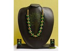 Handmade Terracotta Jewelry - Terracotta Exclusive Set  An Earthy pendant set in a beautiful design, handmade using river bed clay called terracotta, fired and hand painted with great care. A natural form of heritage Indian art jewelry, painted in earth