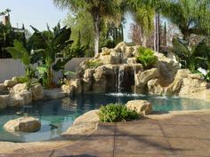 Image detail for -Sculpted rock pool grotto, waterfall, slide; stamped, stained … - All For Garden Backyard Pool Landscaping, Backyard Pool Designs, Swimming Pools Backyard, Swimming Pool Designs, Backyard Ideas, Swiming Pool, Landscaping Ideas, Grotto Pool, Lagoon Pool